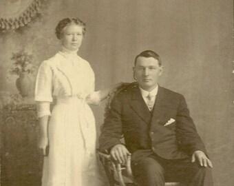 Antique Cabinet Card Handsome Edwardian Couple in Studio Portrait – Instant Ancestors