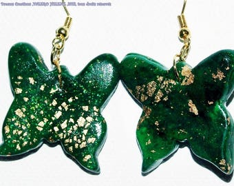 Earrings 'golden green butterflies'