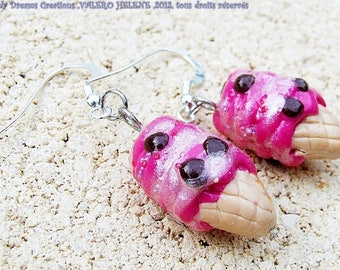 Sweet Earrings: raspberry ice cream cone, polymer clay