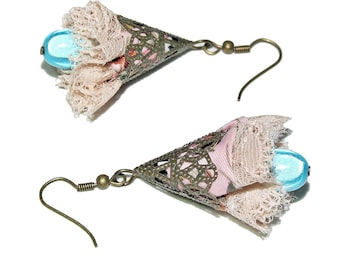 Earrings romantic, liberty, lace, shiny blue