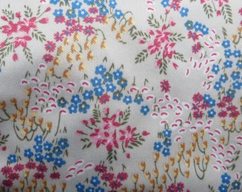 Stretch Polyester Fabric One Yard Beige with Floral Print Polyester Shirt or Dress Fabric Red White Blue gold Floral Print