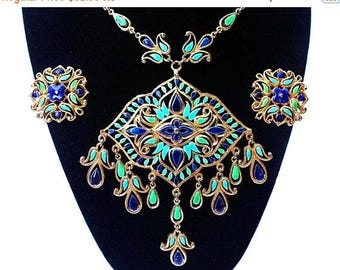 20% OFF SALE - VENDOME Ornate Enamel Bib Necklace and Clip-On Earring Demi / Set