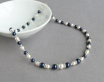 Navy and White Pearl Necklace - Dark Blue Pearl and Crystal Necklaces - Midnight Blue Bridal Party Gifts - Bridesmaid Jewellery - Wedding