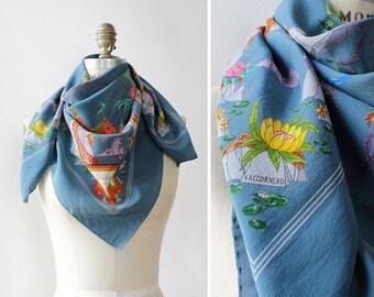 Pagoda Gucci Scarf • Vintage Gucci Silk Scarf • Blue Silk Scarf • Floral Silk Scarf •Designer Silk Scarf • Gucci Floral Scarf | GSC24