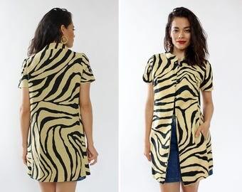 60s Mod Duster Jacket S/M • Zebra Print Linen Duster • 60s Jacket • Spring Jacket • Cotton Jacket • Vintage Jacket | O448