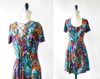 Floral Mini Dress XS/S/M • Vintage Floral Dress • 90s Mini Dress • Vintage Mini Dress • Scoop Neck Dress • Tropical Floral Dress | D1085