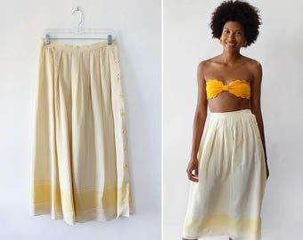 Vintage Silk Skirt M • Yellow Silk Skirt • 80s Skirt • High Waisted Skirt • Summer Midi Skirt • Silk Pleat Skirt • Vintage Midi Skirt |SK951