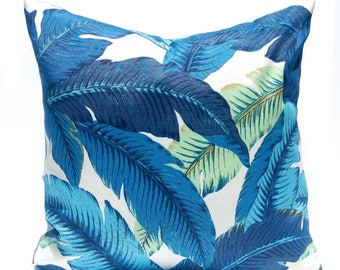 Outdoor Pillows Blue - Tommy Bahama Swaying Palms - Banana Leaf Pillow Cover -Blue Pillow Cover - Outdoor Cushion Cover - Palm Leaf Pillow
