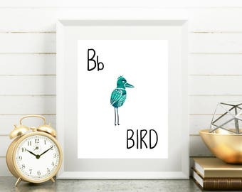 Bird Nursery Art, B is for Bird Print, 8x10 Printable, Bird Print, Wall Art, Watercolor