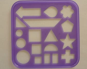 Vintage Tupperware Tuppertoys Stencil for Children (1987) Circle, Star, Square, Triangle, Rectangle, Arrow