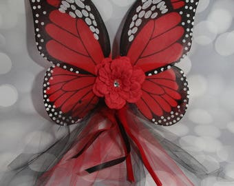 Girl's Red Monarch Butterfly Wings, Girls Fairy Wings, Butterfly Wings, Children's Pixie Wings, Monarch Play Wings, Dress Up Wings, FW1751