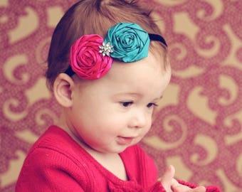 Baby Vintage Headband, Baby Flower Headband, Silk Rosette Fascinator, Teen Headband, Toddler Headband, Photo Prop NO.133