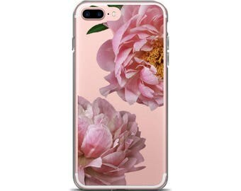 iPhone 6s Clear Flower Pink Peony Phone Case iPhone 7 Case Gift For Her iPhone 7 Floral Phone Case iPhone 6
