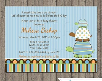 ON SALE Turtle Baby Shower Invitations, Turtle, Blue, Girl, Boy