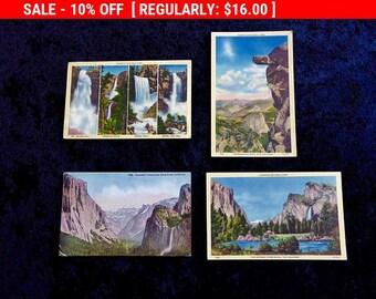 3 Linen YOSEMITE National Park  1 ORIG. Vintage Postcards Vernal Falls Yosemite Valley Overhanging Rock