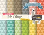 50% Off - Modern Triangles Digital Paper, Endless Triangles Pattern, Geometric Triangles Digital Backgrounds Seamless Triangle Patterns