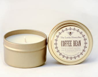 Coffee Bean || 6 oz Scented Candle || Soy + Beeswax Blend Candle in Gold Tin