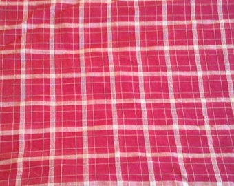 Red and White Woven Plaid Lightweight Cotton Fabric 2 Yards X0962