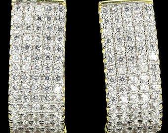 34 TCW AAAA White CZ Diamond stones, 14kt yellow gold, silver Pierced Earrings