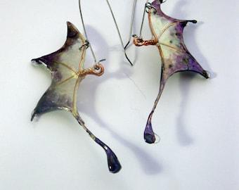 FIRE POLISHED resin fairy wings or dragon wings earrings