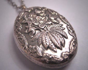 Antique Victorian Floral Repousse Pedant Necklace Sterling Silver Vintage 1800s Wedding Bridal