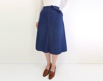 VINTAGE Denim Wrap Skirt 1970s Jantzen Dark Blue Jeans