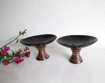 VINTAGE Mid Century Candleholders Black Copper Set 2
