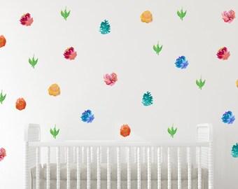 Flowers wall decals, Baby Girl Nursery Wall Decals, Baby Girl Room, Nursery Decals, Flowers, wall Stickers, Blooming art, watercolor flowers