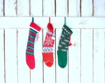 Vintage woven knit Christmas stockings/snowflake/Noel/red hearts retro xmas socks/set of 3