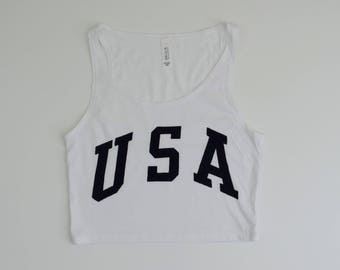 New Women's USA Crop Top Tank Shirt // Gray or White // S-L