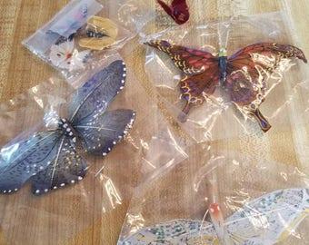 Vintage Lot of 7 Feather Butterflies 1990s