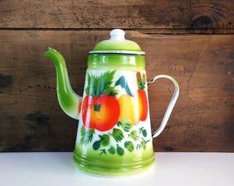 Green Enamel Coffee Pot, Orange Fruit, Farmhouse decor