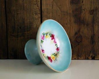 Vintage hand painted ceramic dish / Ring dish / Footed bowl