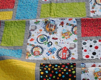 Robots are Fun Child/Toddler Size Quilt