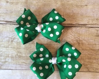 Green with White Dots Bow Set_alligator clips