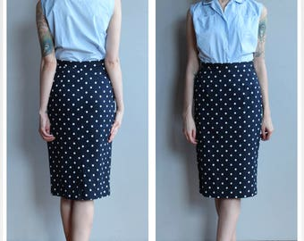 1990s Skirt // Perfect Polka Dot Pencil Skirt // vintage 90s skirt