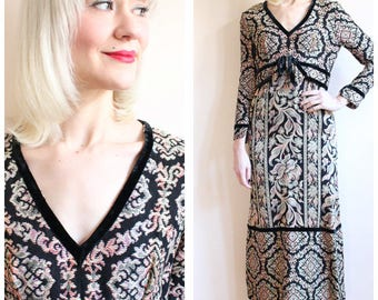 1960s Dress // Baroque Maxi Dress // vintage 60s dress