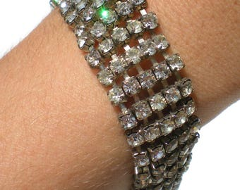 "Formal Rhinestone Bracelet Five Rows of Rhinestones on Silver Tone - 7 3/8"" Long Vintage Jewelry"