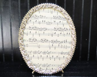 Oval 8 x 10 Picture Frame White Washed Brass Vintage Filigree Picture Frame / Easel Back