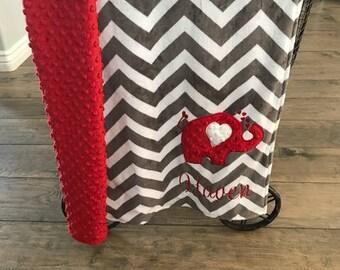 blanket, baby blanket, personalized blanket, minky blanket,  29 x 35 blanket, elephant blanket with red