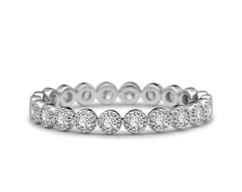 Platinum Diamond Wedding Band- Platinum Eternity Ring - Full Eternity Ring - Platinum Pave Band - Milgrain Ring