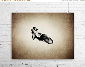 WEEKEND SALE Freestyle Motocross Tabletop Jump on Vintage, Wall Decor, Wall Art,  Kids Room, Gift Ideas, Motorcycle Prints
