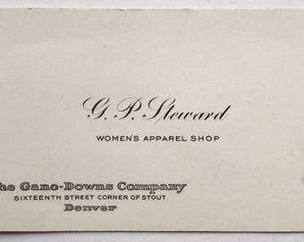 Vintage 1930s Business / Calling Card-G.P.Steward Woman's Apparel Shop Denver Colorado-FREE SHIPPING!