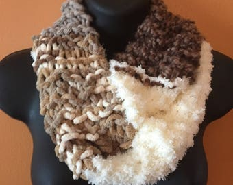 Beige and taupe mixed fiber infinity scarf