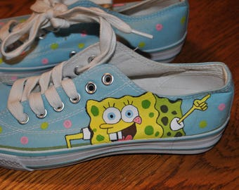 For Sale size 6 Sponge Bob and Patrick sneakers hand painted