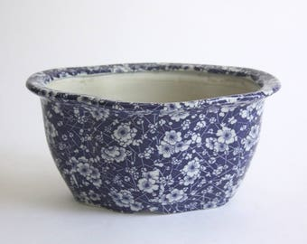 Large Vintage Blue and White Ceramic Planter