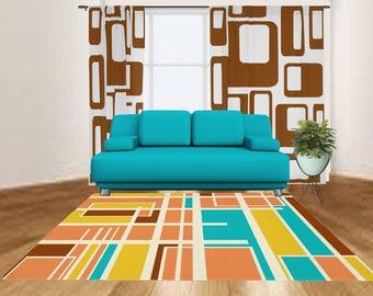 mid century modern area rug modern rug modern geometric rug living room rug