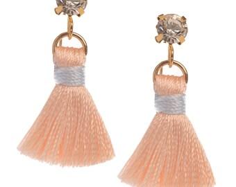 Blush Tiny Tassel Rhinestone Earrings