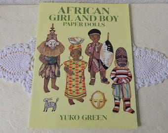Paper Doll Booklet: African Girl and Boy by Yuko Green, 1997. New Condition