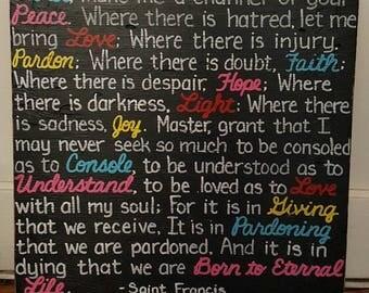 Prayer of St Francis VERSION 2 Religious SIGN 24x24 Sarah McLachlan Lyrics Subway Distressed primitive Love Faith Handmade  Wooden WHAGN